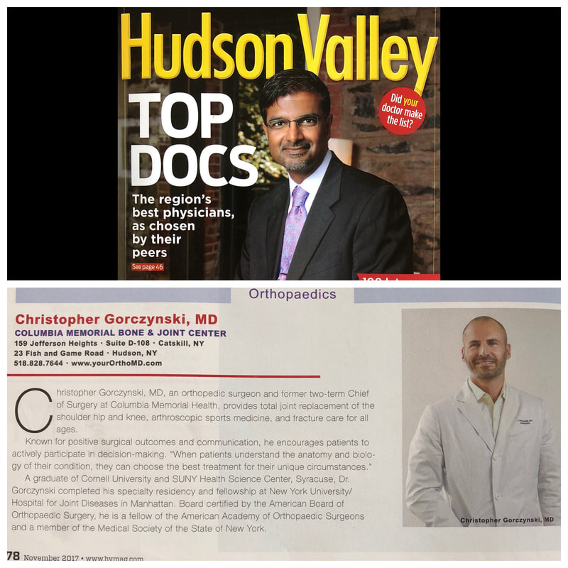 Dr. Gorczynski selected as top orthopedic surgeon in Hudson Valley 2017